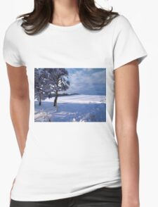 Beautiful winter landscape background Womens Fitted T-Shirt