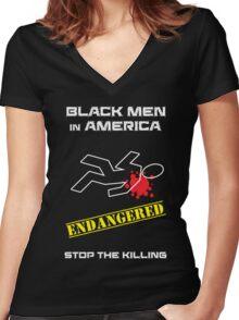 Black Men in America -- Stop the Killing Women's Fitted V-Neck T-Shirt