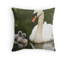 Swan & Cygnets Throw Pillow