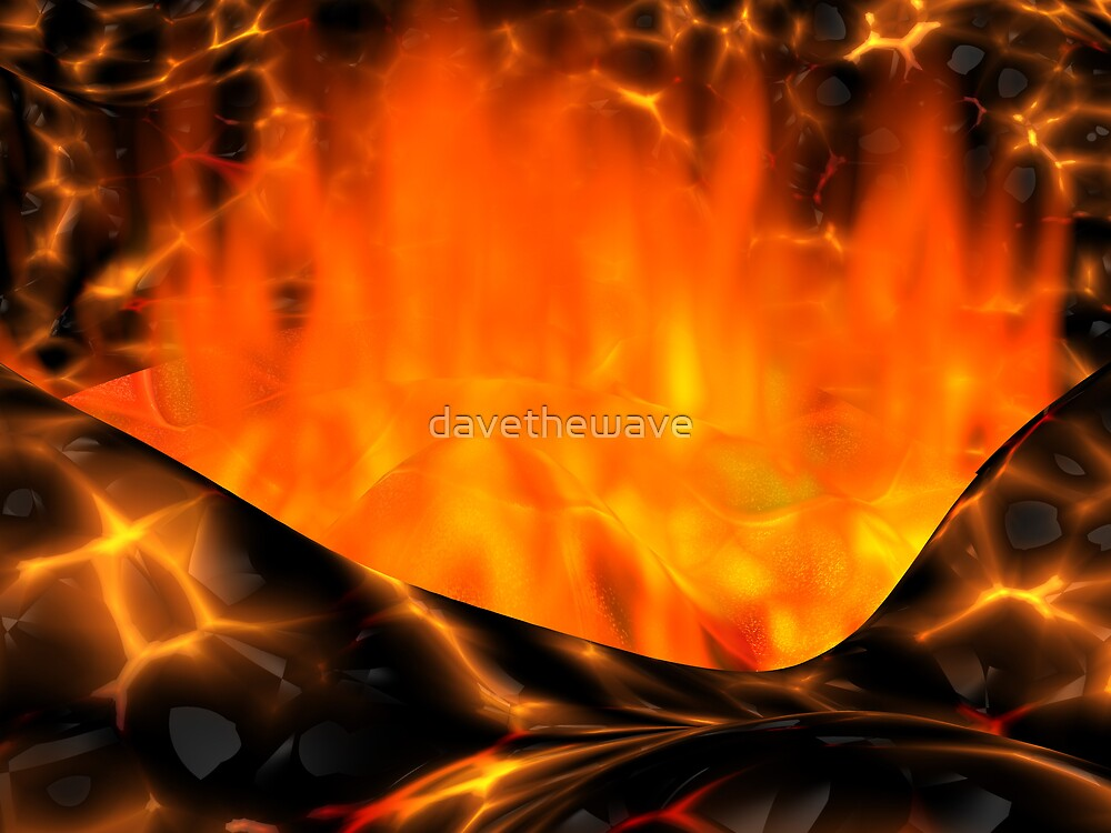 The fiery heart of a volcano by davethewave