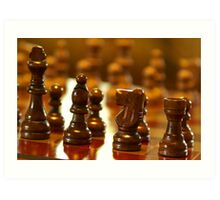 Wooden Chess Pieces Art Print