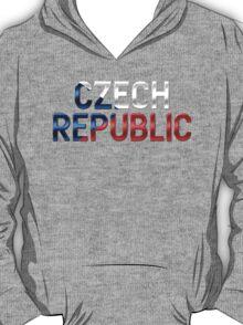 Czech Republic - Czech Flag - Metallic Text T-Shirt