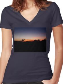 Sunset in the Sahara Women's Fitted V-Neck T-Shirt