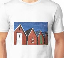 Beautiful red fishing huts on the coast Unisex T-Shirt