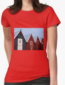 Beautiful red fishing huts on the coast Womens Fitted T-Shirt