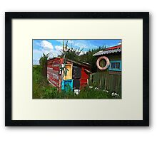 Rustic wooden old fishing shed Framed Print