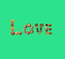 L O V E Letters from Vintage Gold Buttons by MHen
