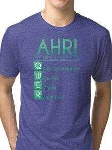 Champion Ahri Skill Set In Green Tri-blend T-Shirt