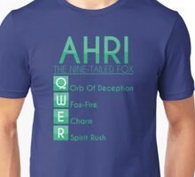 Champion Ahri Skill Set In Green Unisex T-Shirt