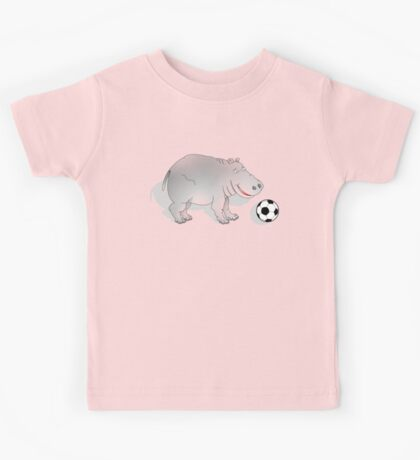 Hippo with Football Kids Tee