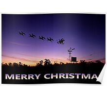 Christmas Card - Windmill Silhoette Poster