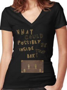 What could possibly be inside that box? v2 Women's Fitted V-Neck T-Shirt