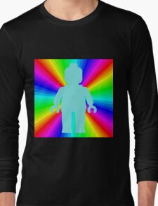Blue Minifig in front of Rainbow Long Sleeve T-Shirt