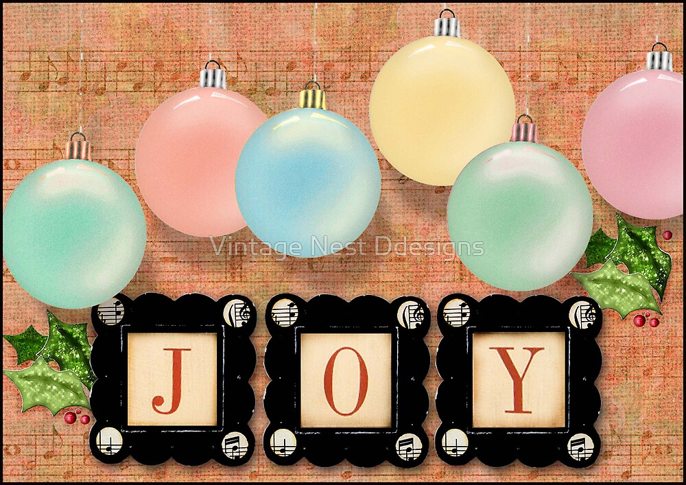 Christmas Card Joy by Vintage Nest  Designs