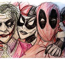Deadpool Joker Harley & Spiderwoman by Buxbunny