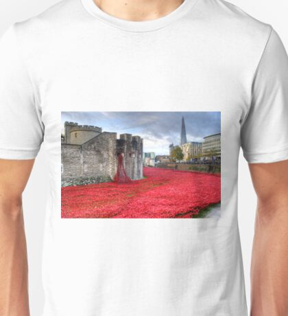 Poppies at the Tower Unisex T-Shirt
