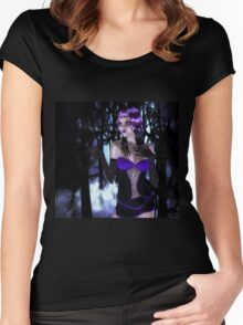 Girl in forest at night Women's Fitted Scoop T-Shirt