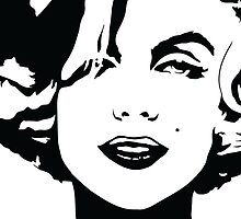 Marilyn Monroe - Hollywood Icon, Actress, Model - Black Outline by Kelmo