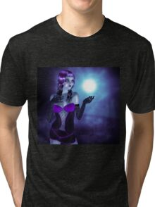 Girl in forest at night 4 Tri-blend T-Shirt