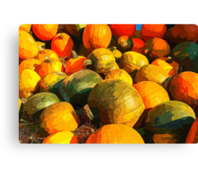 Colorful pumpkins for Halloween Scary Jack Canvas Print