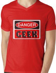 Danger Geek Sign Mens V-Neck T-Shirt