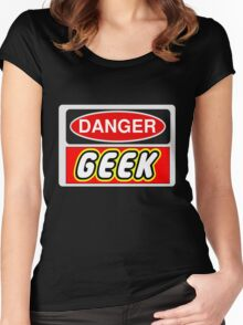 Danger Geek Sign Women's Fitted Scoop T-Shirt