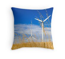 Wind farm generators over dry grass Throw Pillow