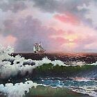 Sunset on open sea by dusanvukovic