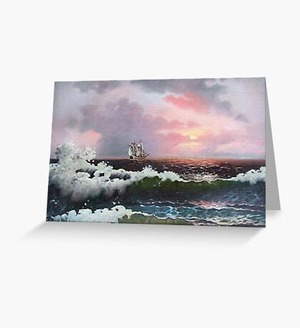 Sunset on open sea Greeting Card