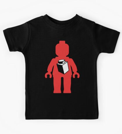 Red Minifig with 1 x 1 Brick Logo, Customize My Minifig Kids Tee