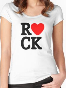 Rock and roll MUSIC LOVE Women's Fitted Scoop T-Shirt