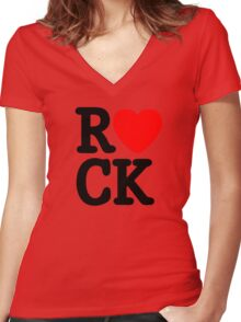 Rock and roll MUSIC LOVE Women's Fitted V-Neck T-Shirt