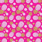 Pineapple and daisy repeat graphic pattern by Sarah Trett