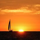 Sailing Past the Setting Sun, San Diego  by Heather Friedman