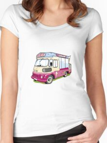ice cream vanvector illustration of an ice cream truck Women's Fitted Scoop T-Shirt