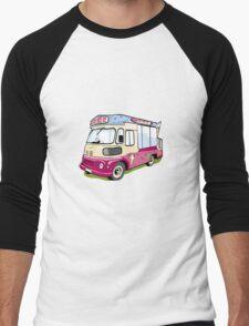 ice cream vanvector illustration of an ice cream truck Men's Baseball ¾ T-Shirt