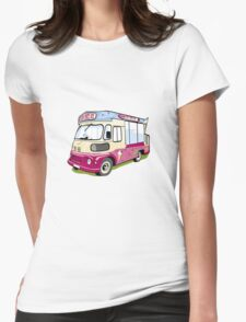 ice cream vanvector illustration of an ice cream truck Womens Fitted T-Shirt