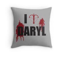 Walking Dead Zombie Fans - I <3 Daryl - Black Lettering Throw Pillow