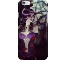 Gothic girl with rose petals iPhone Case/Skin