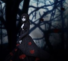 Gothic girl with rose petals 2 by AnnArtshock