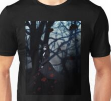 Gothic girl with rose petals 2 Unisex T-Shirt