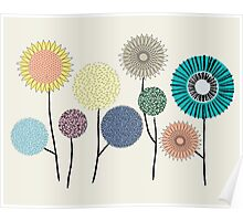 Flower and seed pods in pastel colours, Graphics Poster