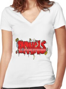 Brains Women's Fitted V-Neck T-Shirt
