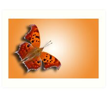 Question Mark Butterfly on Orange Shimmer Art Print