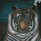 original acrylic tiger painting by DarkVamp1reXVLss