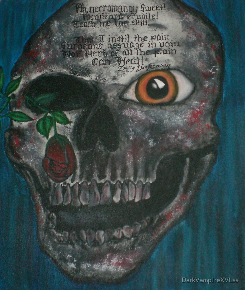 original skull painting interpreting a poem by Emily Dickenson by DarkVamp1reXVLss