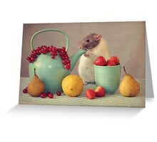 Snoozy loves fruit Greeting Card