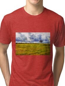 Country landscape with dramatic cloudscape Tri-blend T-Shirt