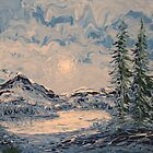 Lake Sunrise FingerPainting by William  Boyer
