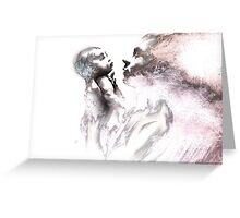 Shadowtwister, reflections conté drawing - textured Greeting Card